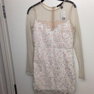 Forever 21 NWT Lace Crochet White Beige Sheer Mini